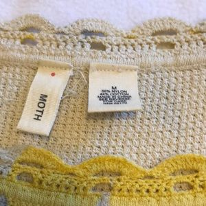 Moth Tops - Moth yellow and grey cotton lightweight sweater